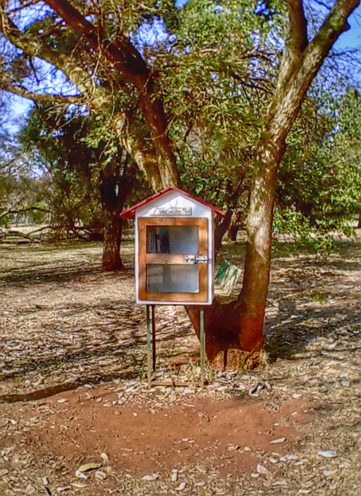 """A small public """"library"""" in the public park."""